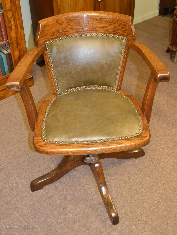 Oak swivel and tilt desk chair c1900 antiques atlas for Chair with swivel desk