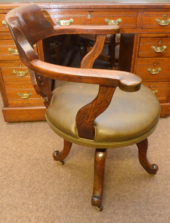 Oak swivel desk chair c1870 antiques atlas for Chair with swivel desk