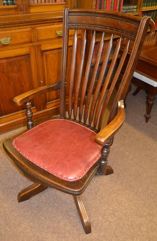 Oak swivel desk chair c antiques atlas