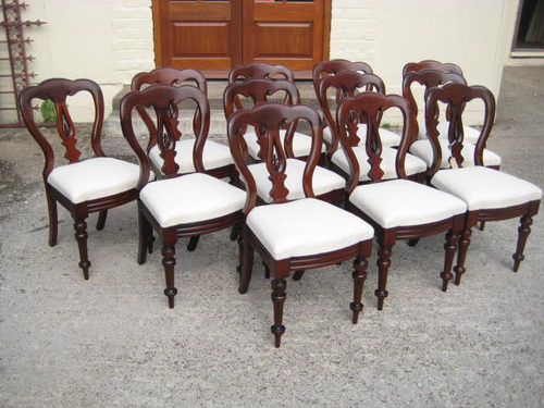 Set of 12 Victorian MAHOGANY dining chairs ... - Set Of 12 Victorian MAHOGANY Dining Chairs - Antiques Atlas