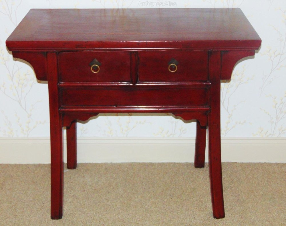 Luxury th Century Chinese Dark Red Lacquer Altar Table