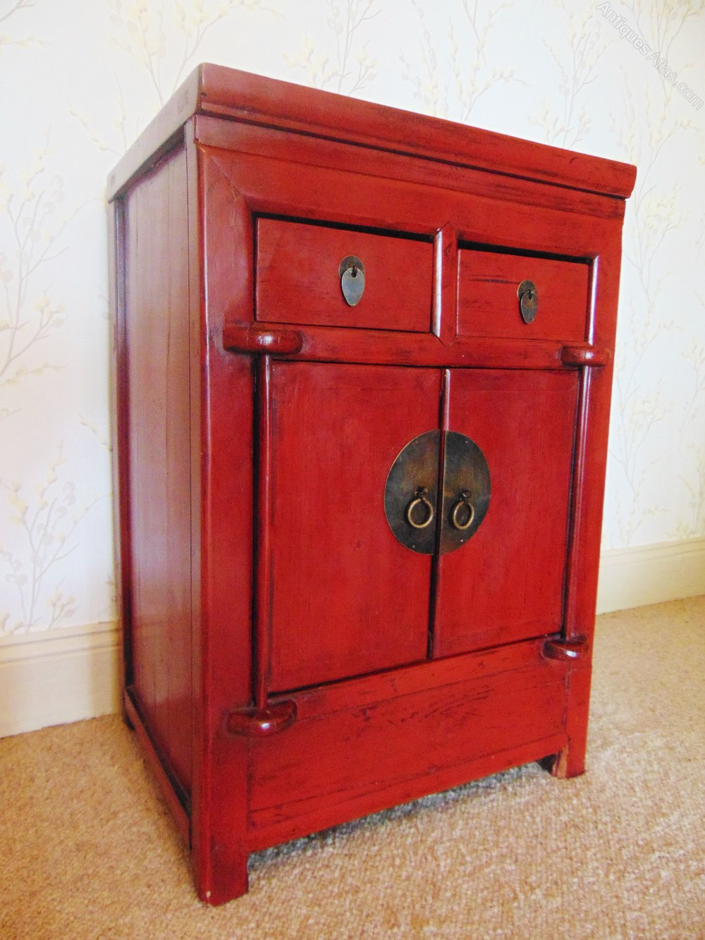 19th Century Chinese Red Lacquer Cabinet - Antiques Atlas