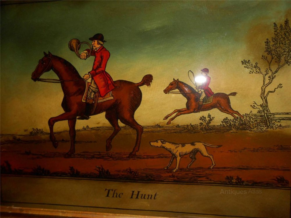 Antiques Atlas Crystoleum Glass Painting Hunting Scene
