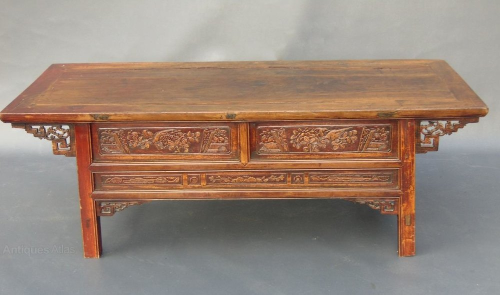 Large chinese lacquered elm low table coffee tab for Large low coffee table