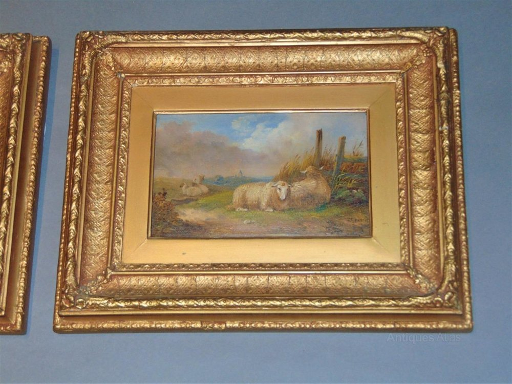 Antiques Atlas Pair Of 19th C Oils On Board Goats
