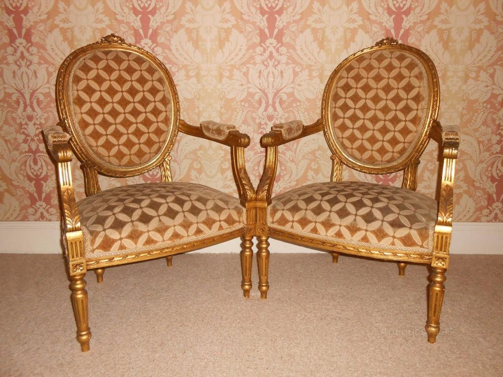 Pair Of 19th Century French Giltwood Armchairs Antiques