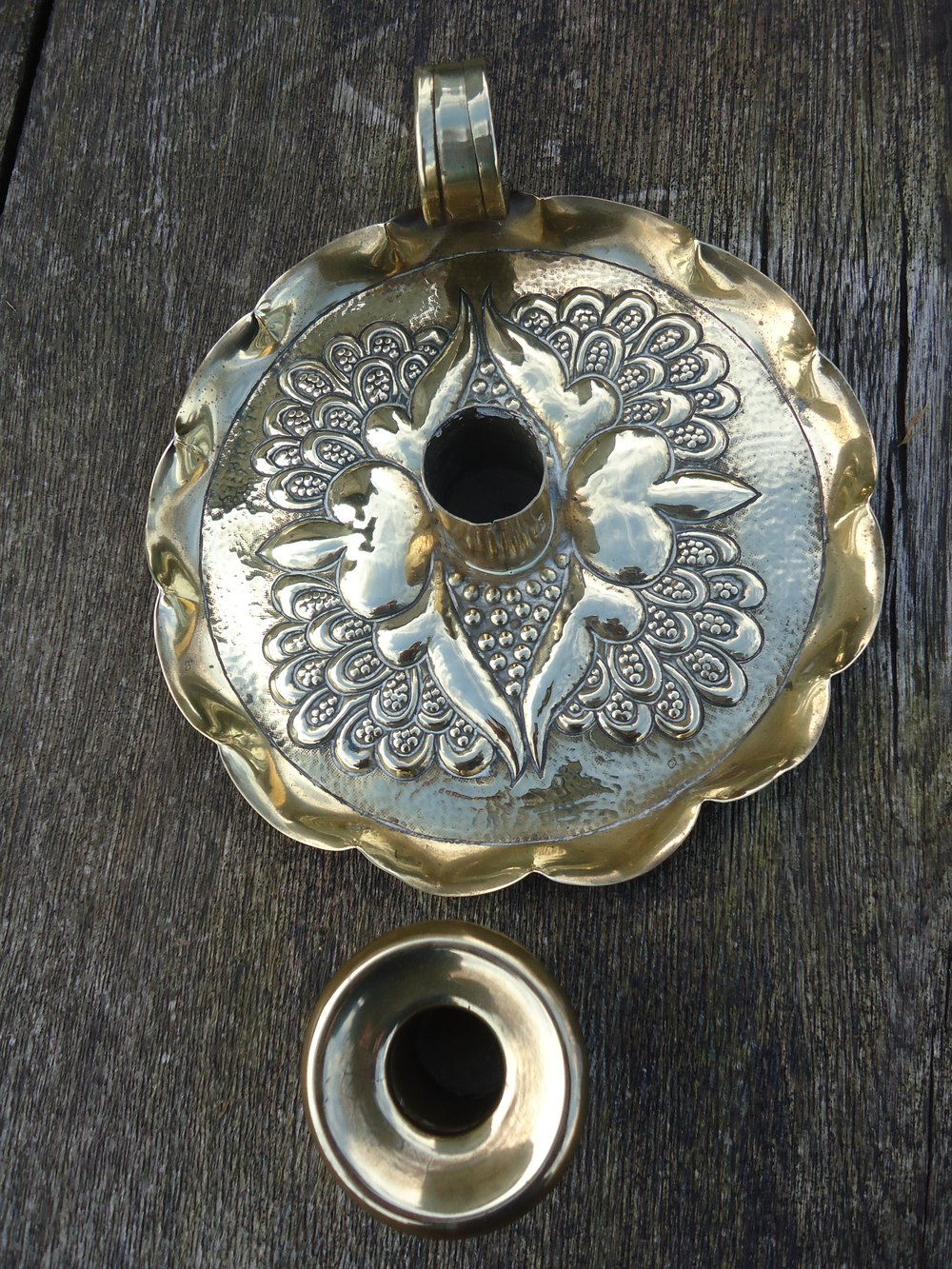 Antiques atlas arts crafts brass candle holder for Arts and crafts candle sconces