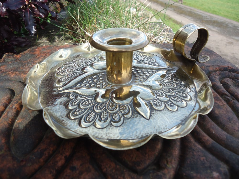 Antiques atlas arts crafts brass candle holder for Candle holder crafts