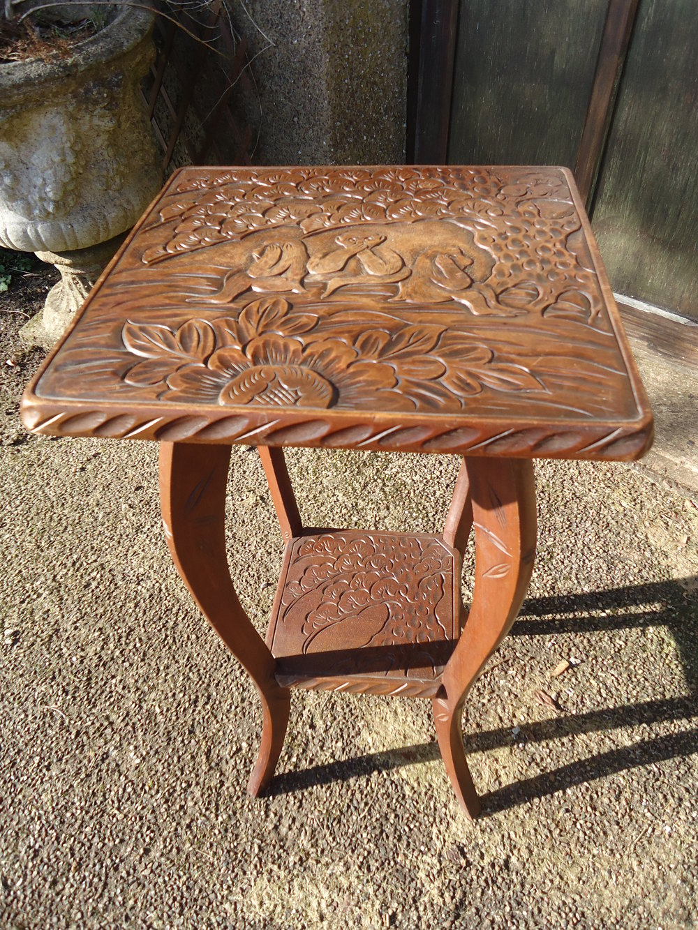 Arts Amp Crafts Carved Table With Three Wise Monkeys