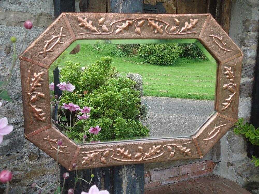 Antiques Atlas Arts Amp Crafts Hexagonal Mirror With Acorns