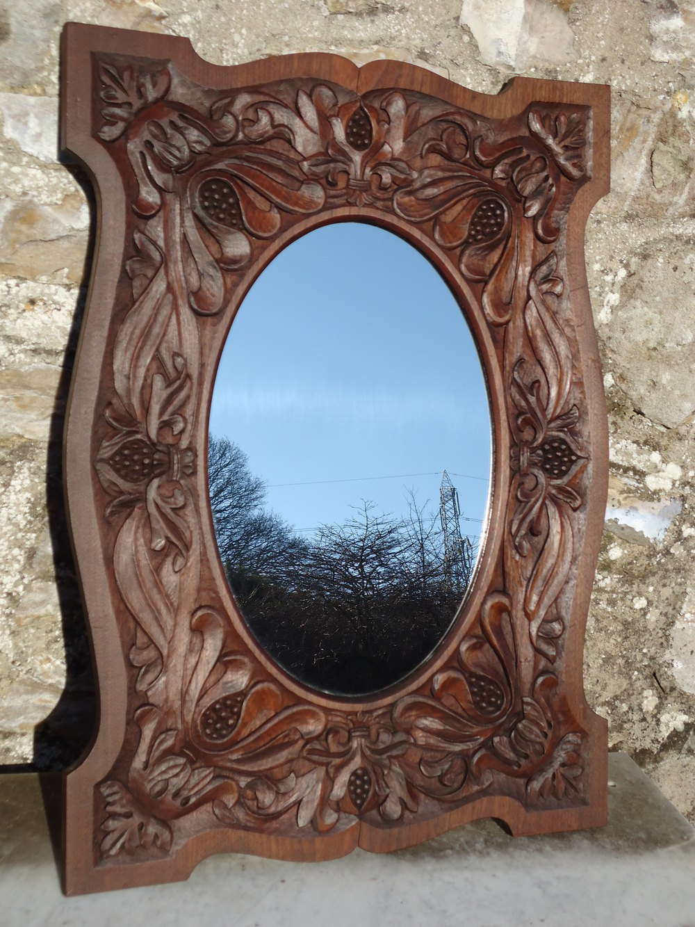 Arts and crafts mirrors - Arts Crafts Carved Mirror With An Oval Centre