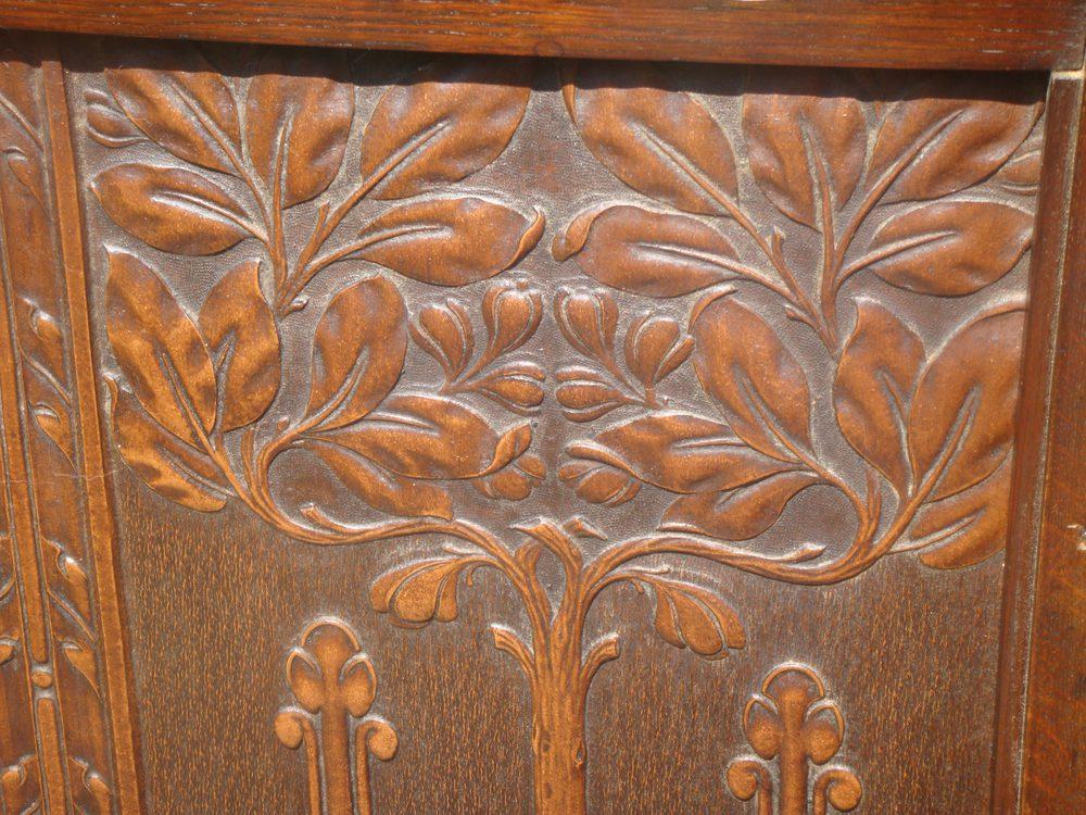 Antiques Atlas Arts & Crafts Leather Tree Life Firescreen