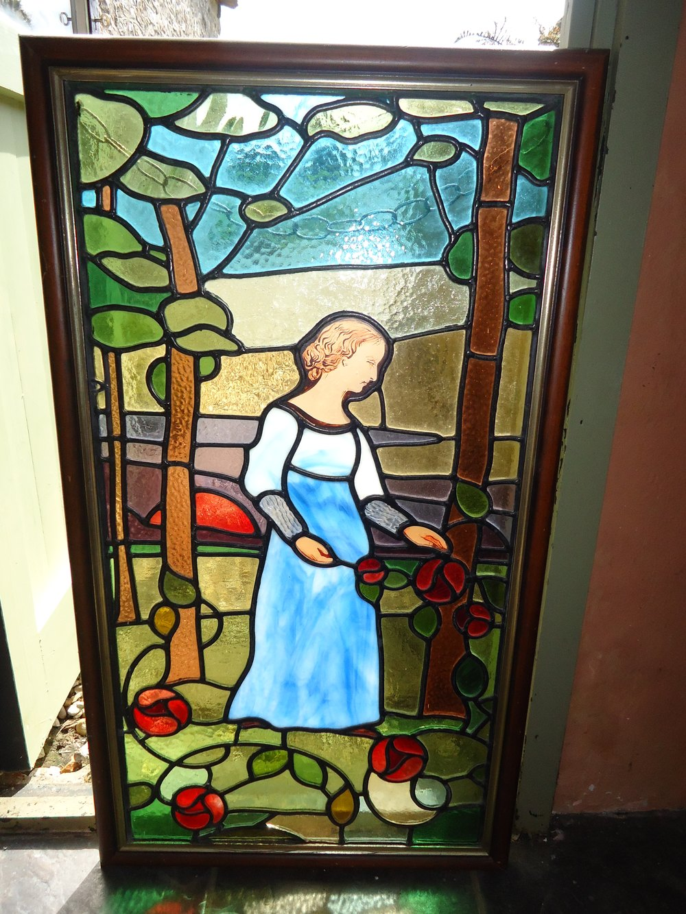 Antiques atlas arts crafts stained glass window panel for Arts and crafts glass