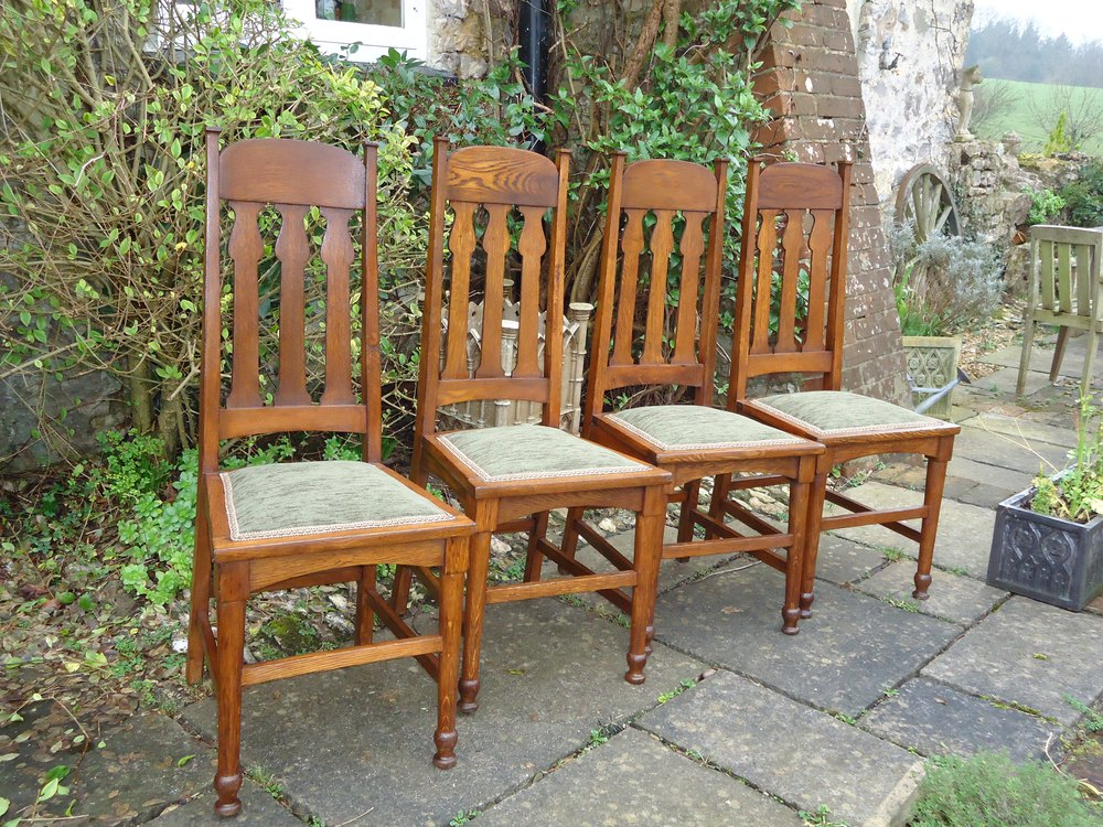 Set Of 4 Shapland Petter Oak Dining Chairs Antiques Atlas