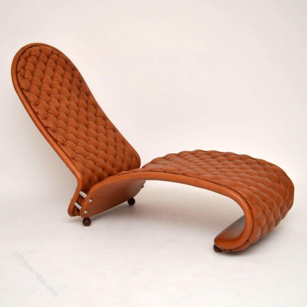 antiques atlas danish leather chaise lounge by verner panton. Black Bedroom Furniture Sets. Home Design Ideas