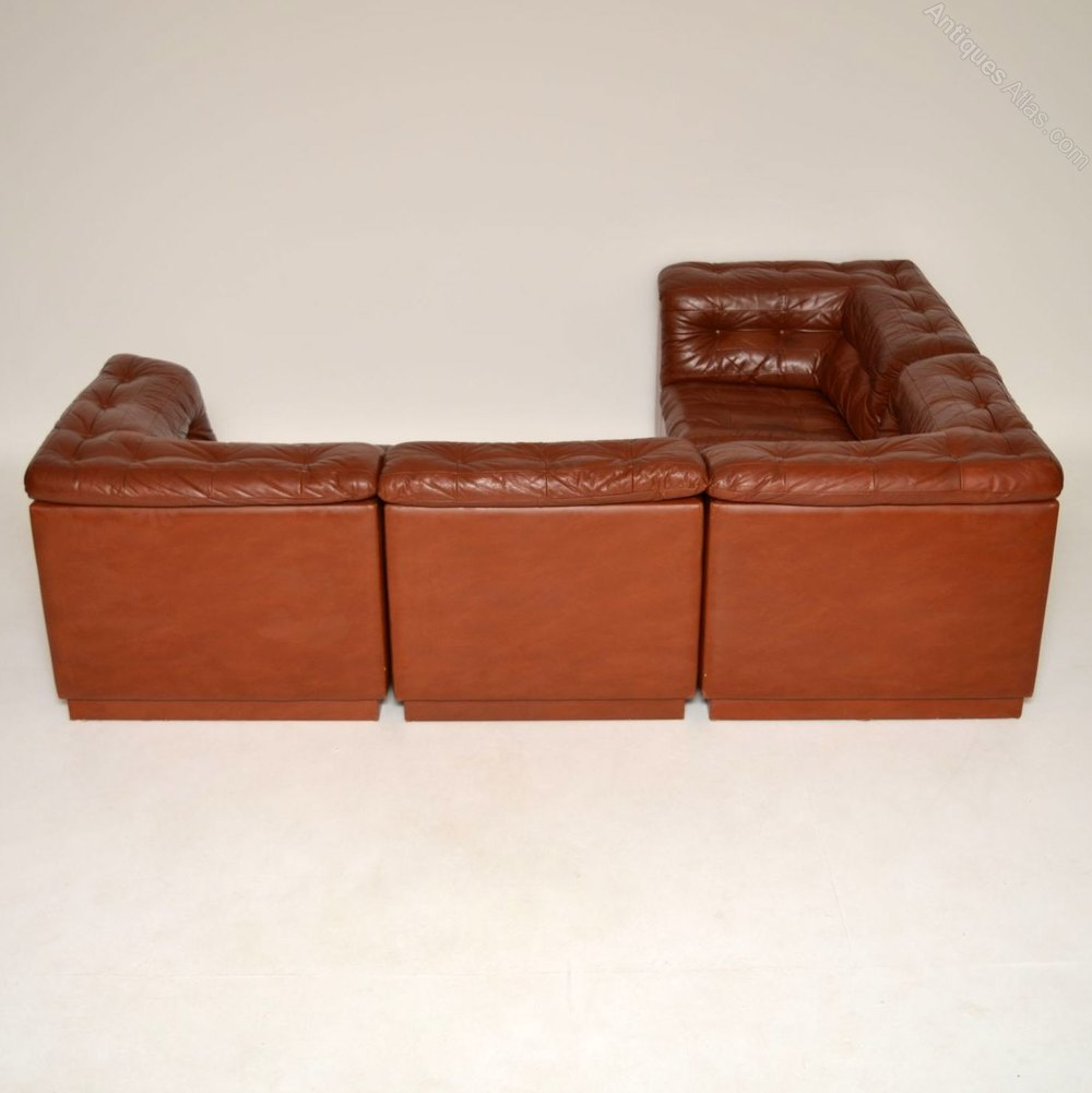 Antiques Atlas Danish Retro Leather Corner Suite Sofa