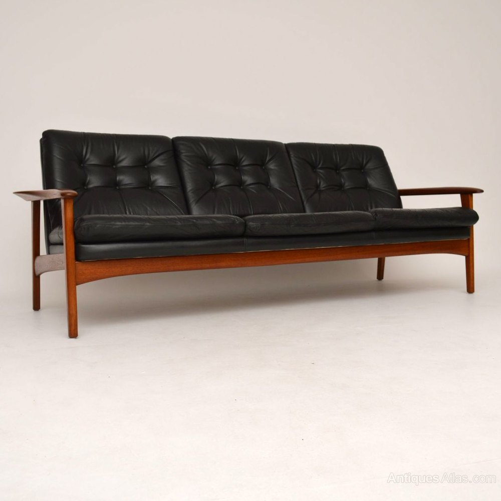 danish teak retro leather sofa vintage 1960 39 s antiques atlas. Black Bedroom Furniture Sets. Home Design Ideas