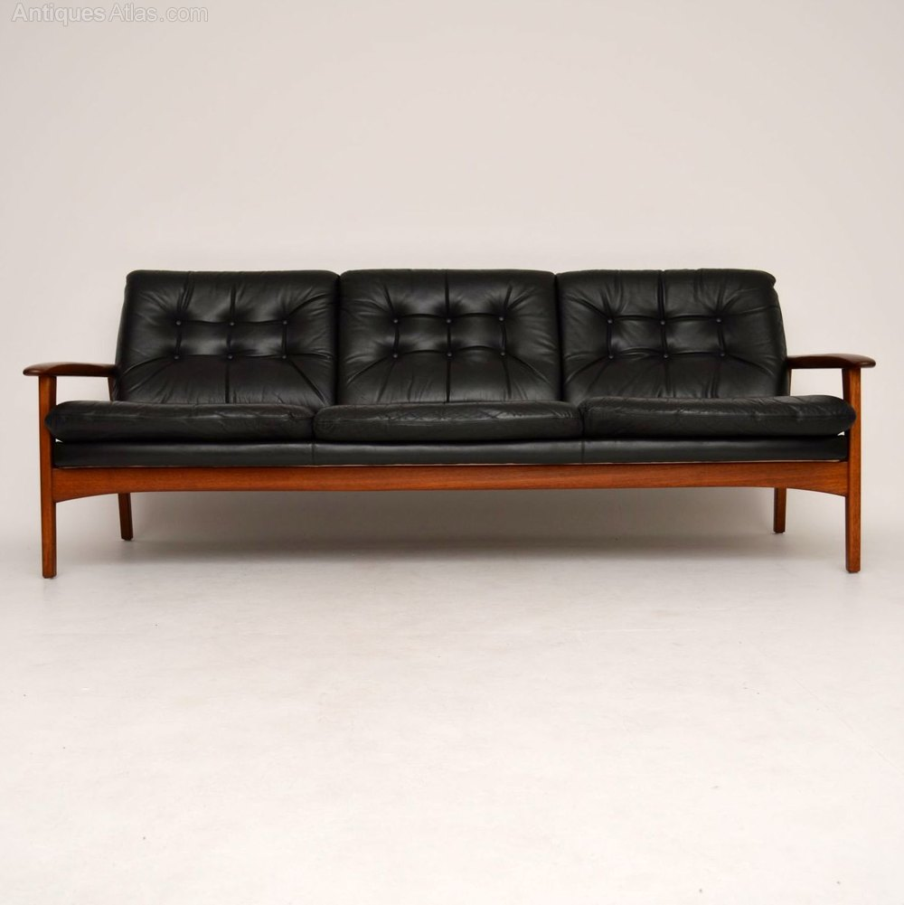 Danish Teak Retro Leather Sofa Vintage 1960 39 S Antiques Atlas
