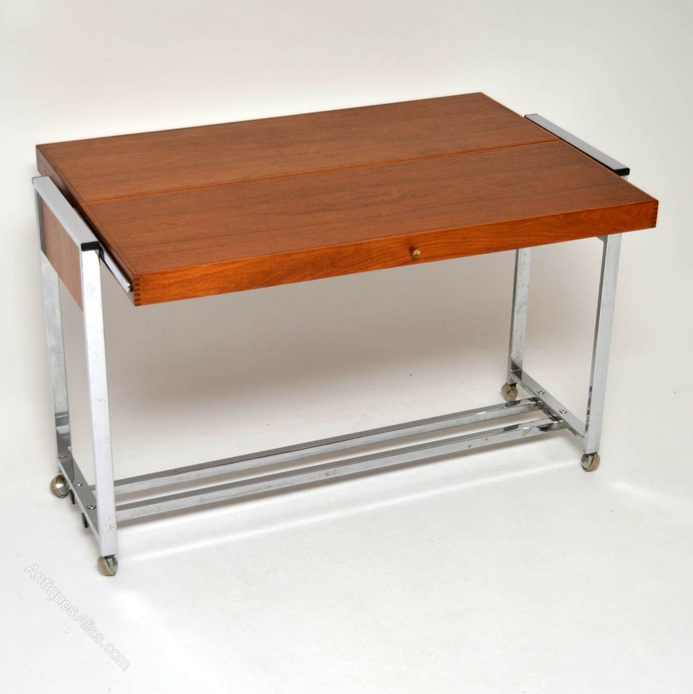 Antiques atlas retro teak chrome side table dining table for Retro dining table