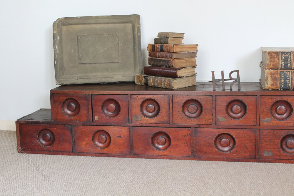 Large Victorian Bank Of Mahogany Apothecary Drawers