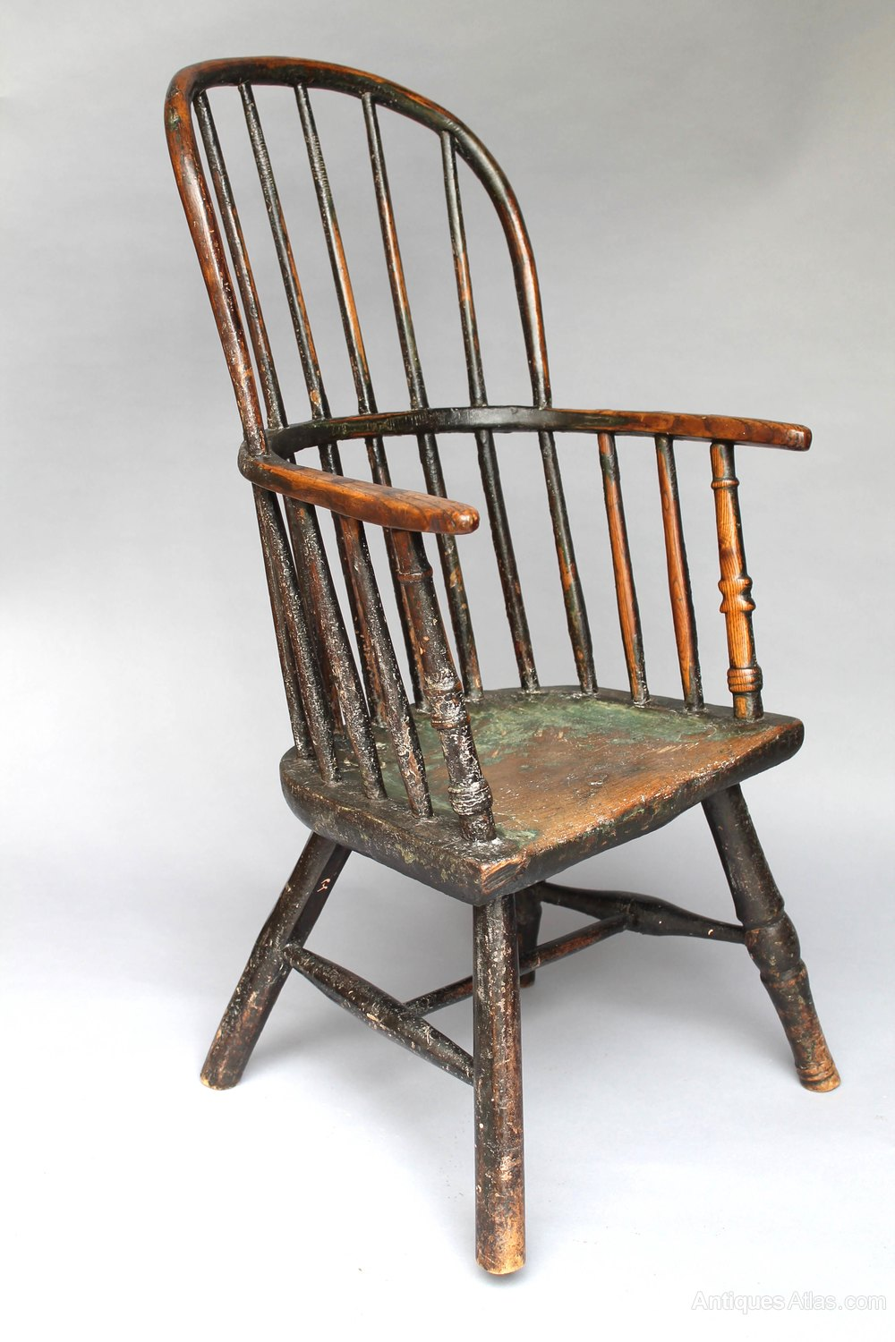 Large Early 19th C Child S Windsor Chair In Paint