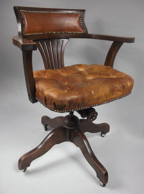 Tilt swivel desk or office chair c 1910 antiques atlas for Antique office chair