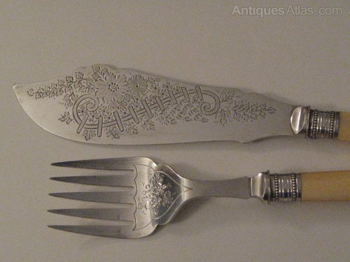 Antiques Atlas Ivory Handled Silver Plated Fish Servers