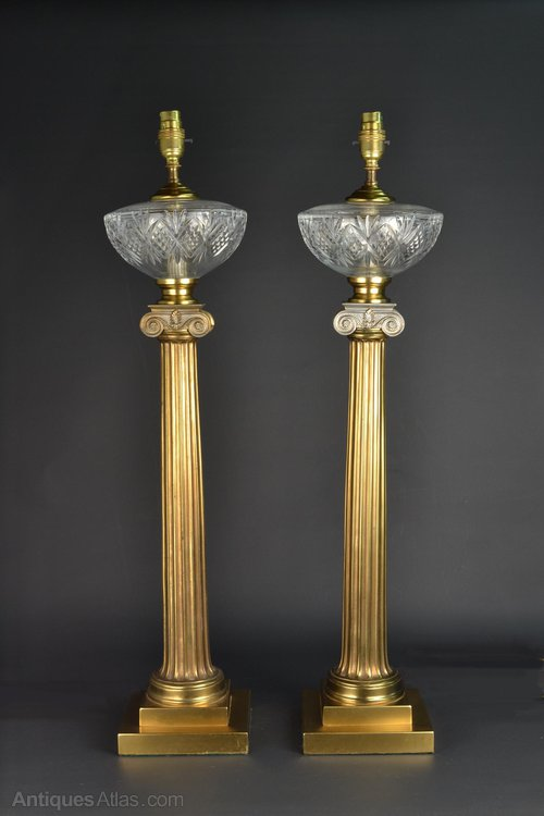 Antiques Atlas Greek Column Glass And Brass Table Lamps