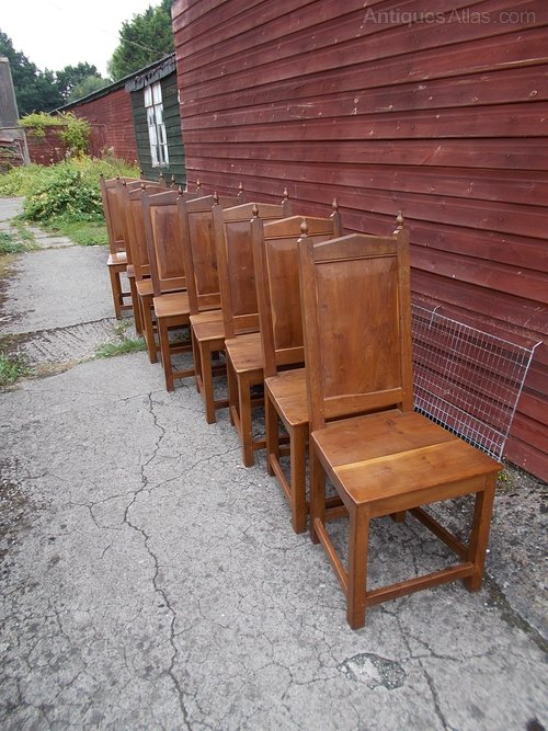 Antiques Atlas Set Of 8 Solid Yew Wood Dining Chairs