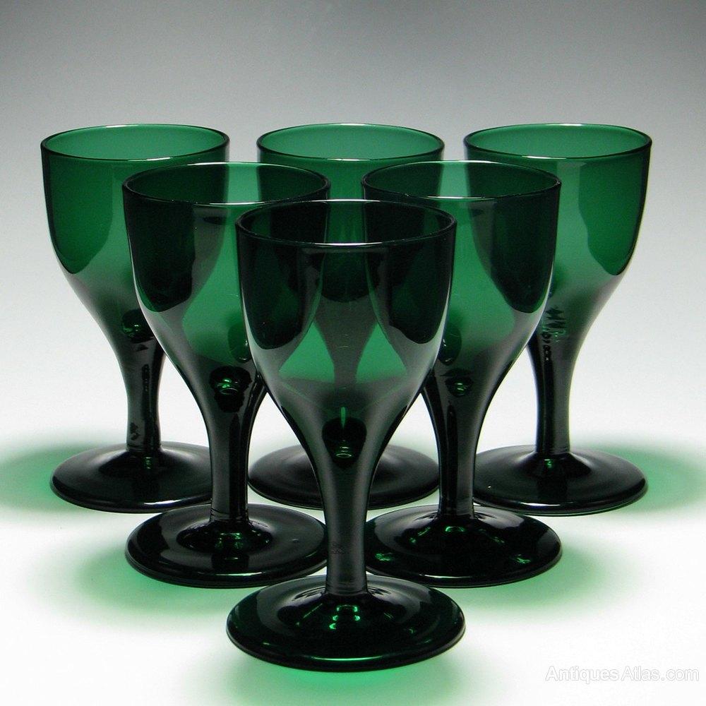 Antiques Atlas Six Georgian Green Wine Glasses C1820
