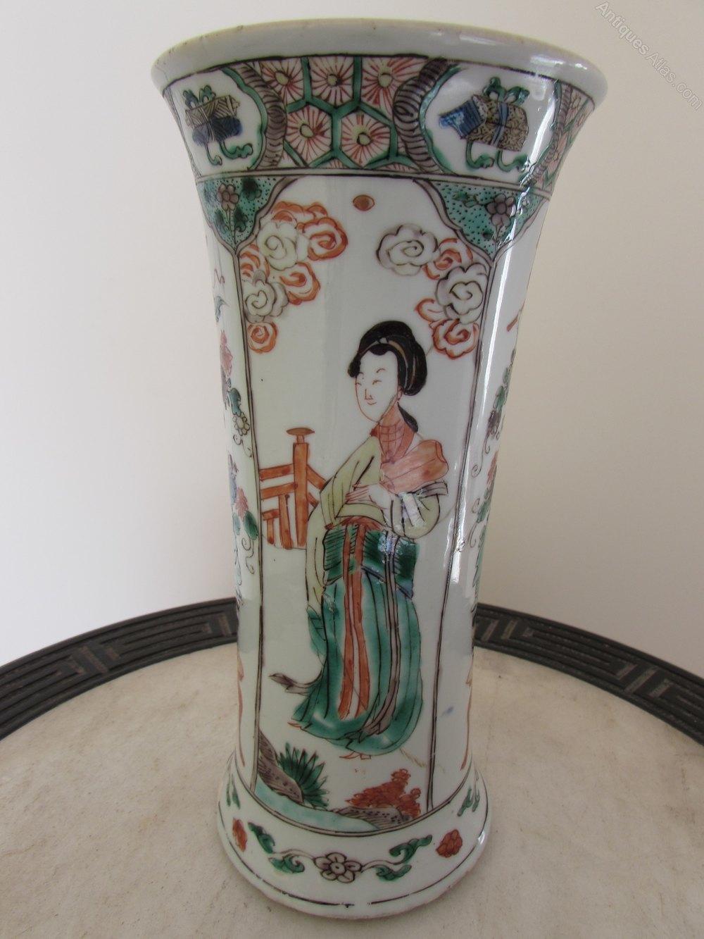 Antiques Atlas - Chinese Kangxi Famille Verte Long Eliza Vase