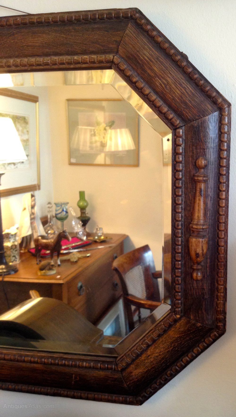 Antiques Atlas Art Deco 1930s Octagonal Oak Framed Mirror