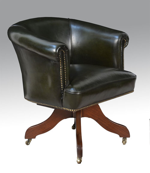 Art deco green leather upholst asabg