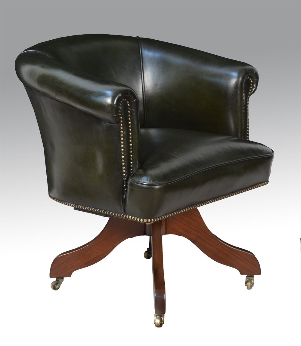 Art deco green leather upholstered office chair antiques for Antique office chair