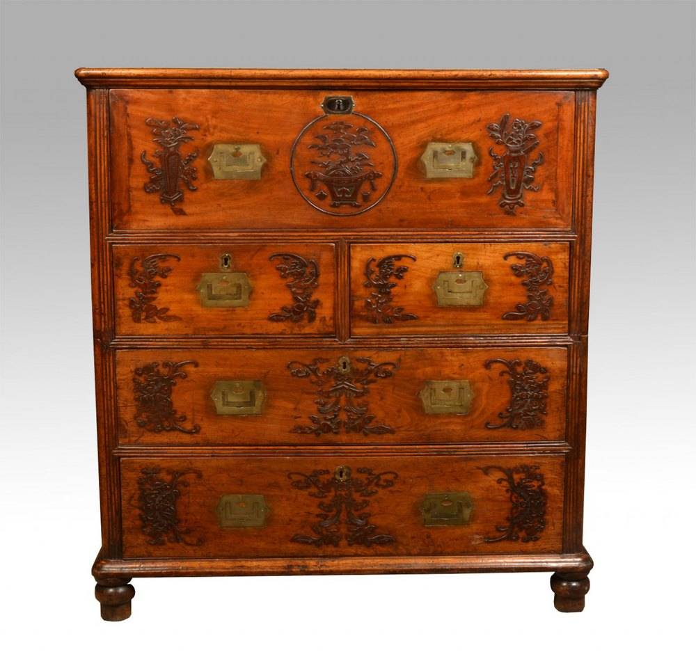 Chinese camphor wood secretaire campaign chest antiques for Wood in chinese