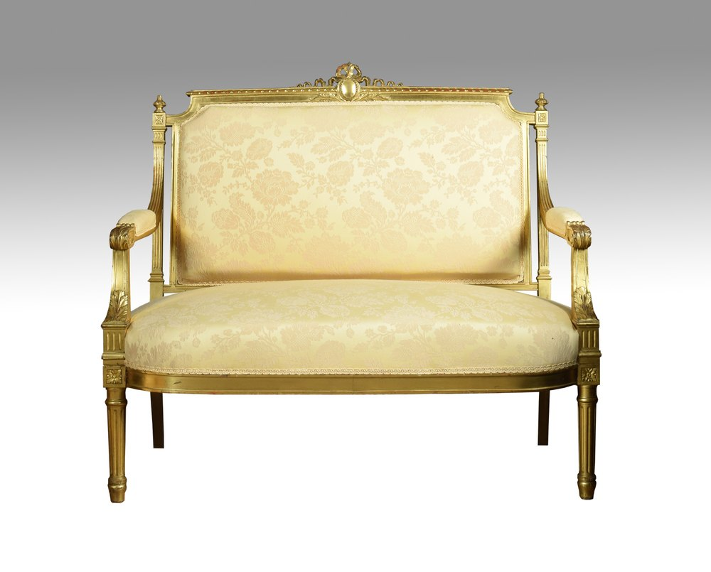 French louis xvi style giltwood two seater settee Settee styles