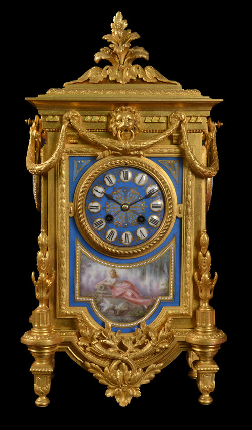 Antiques Atlas - French Gilt Metal And Porcelain Mantle Clock