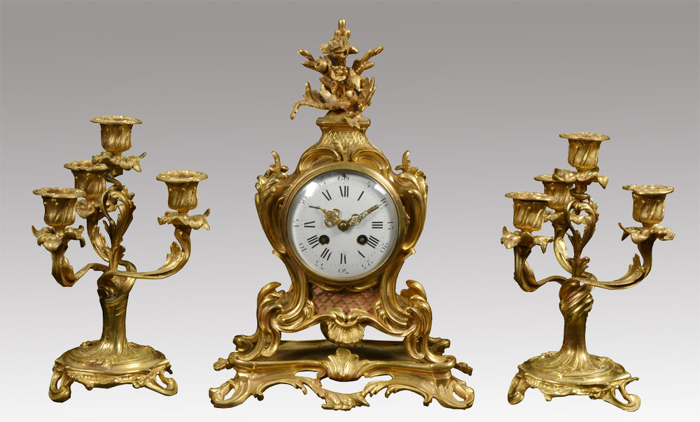 Antiques Atlas - French Three Piece Gilt Metal Mantle ...
