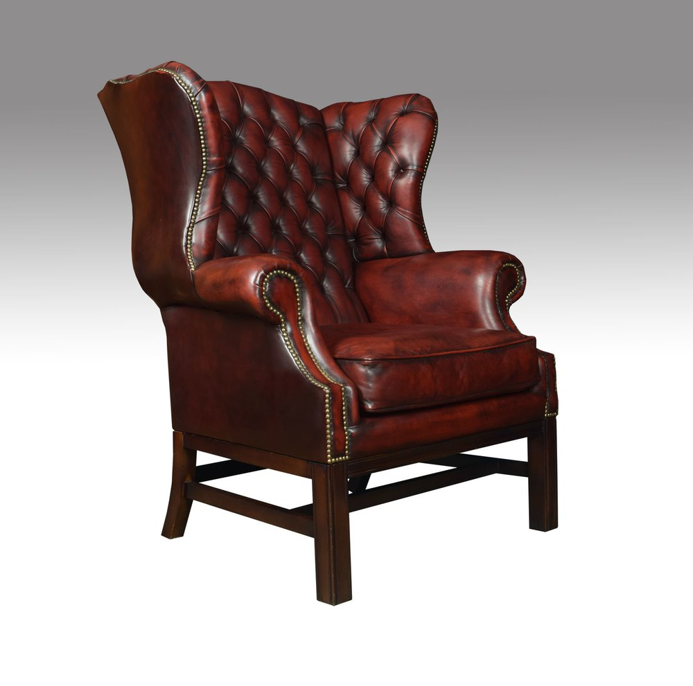 Antiques Atlas Leather Upholstered Wingback Armchair