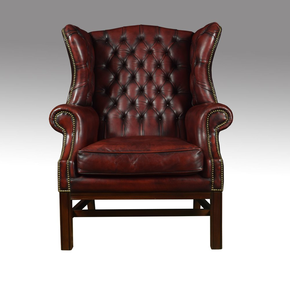 Antiques Atlas - Leather Upholstered Wingback Armchair
