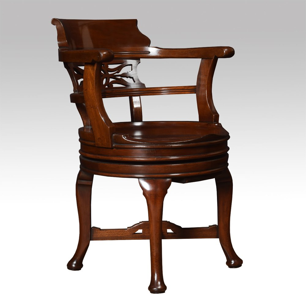 Mahogany swivel desk chair antiques atlas for Chair with swivel desk