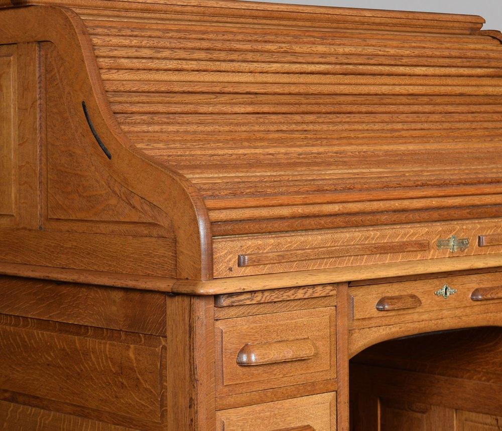 Oak Pedestal Roll Top Desk Antiques Atlas