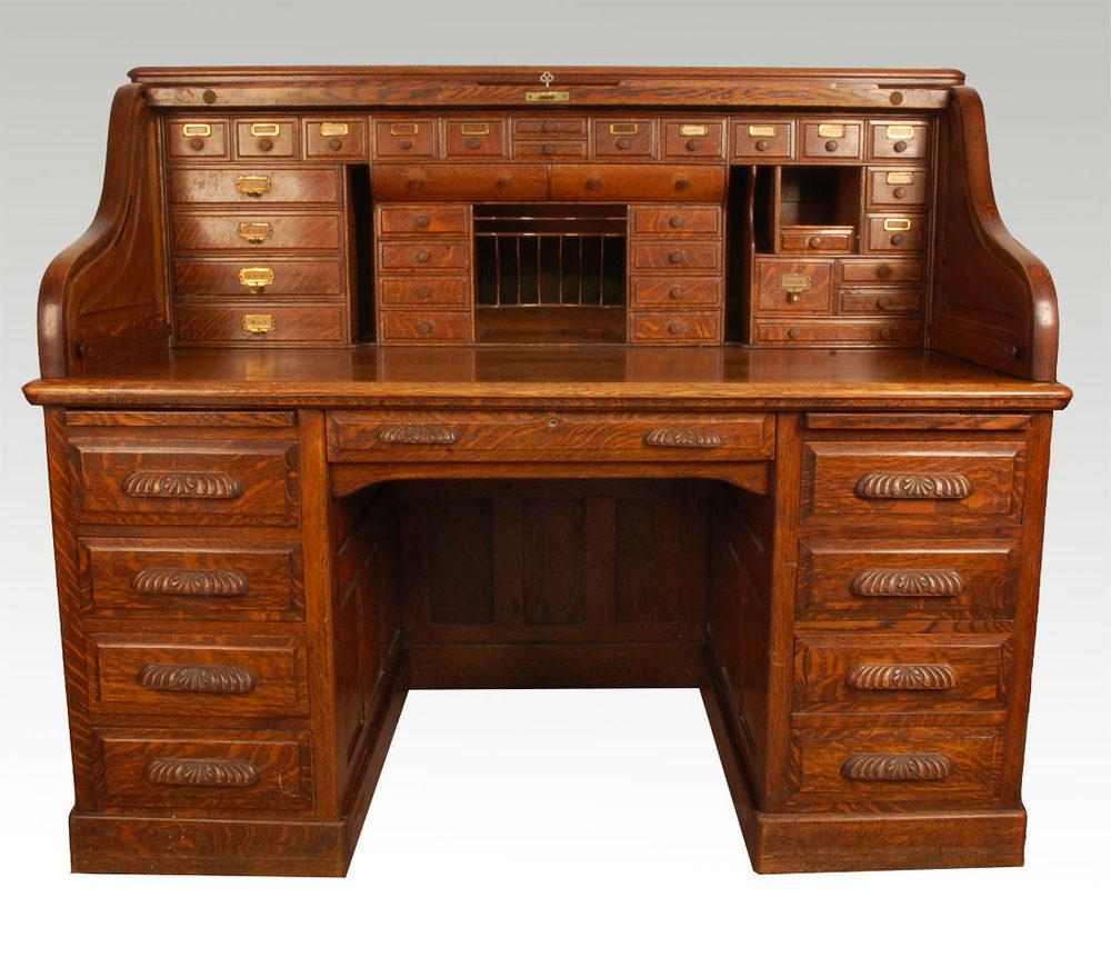 oak roll top desk antiques atlas. Black Bedroom Furniture Sets. Home Design Ideas