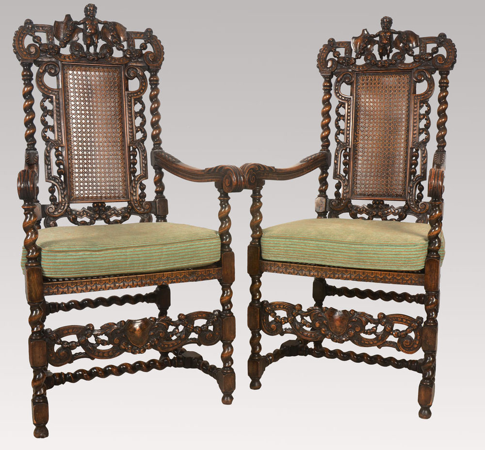 Pair of carved oak arm chairs antiques atlas