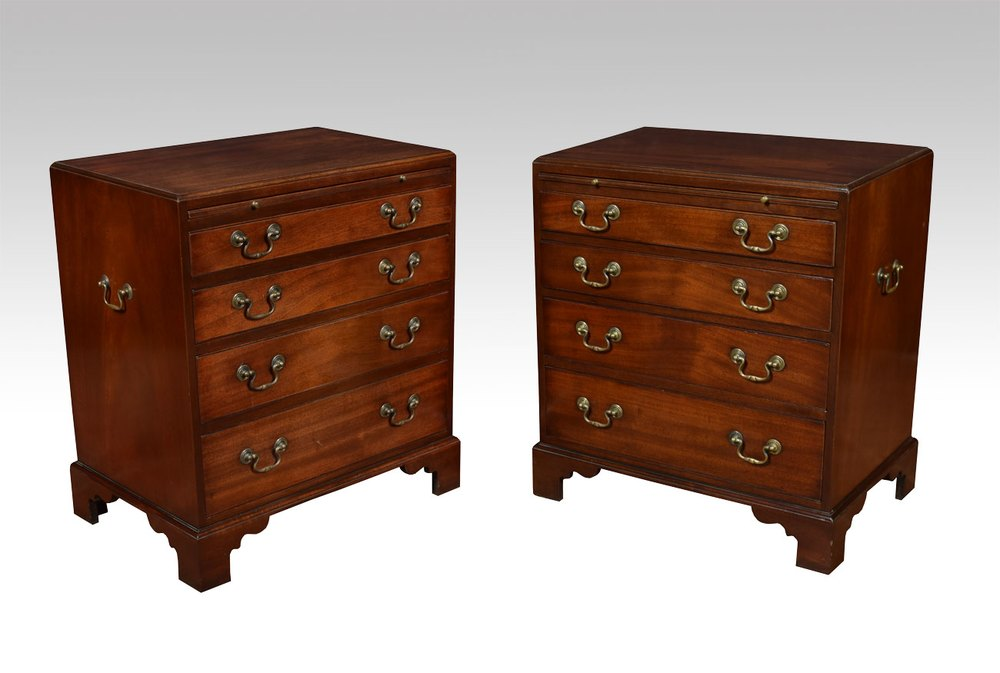 Antiques atlas pair of small mahogany bedside chests for Small bedside chest of drawers