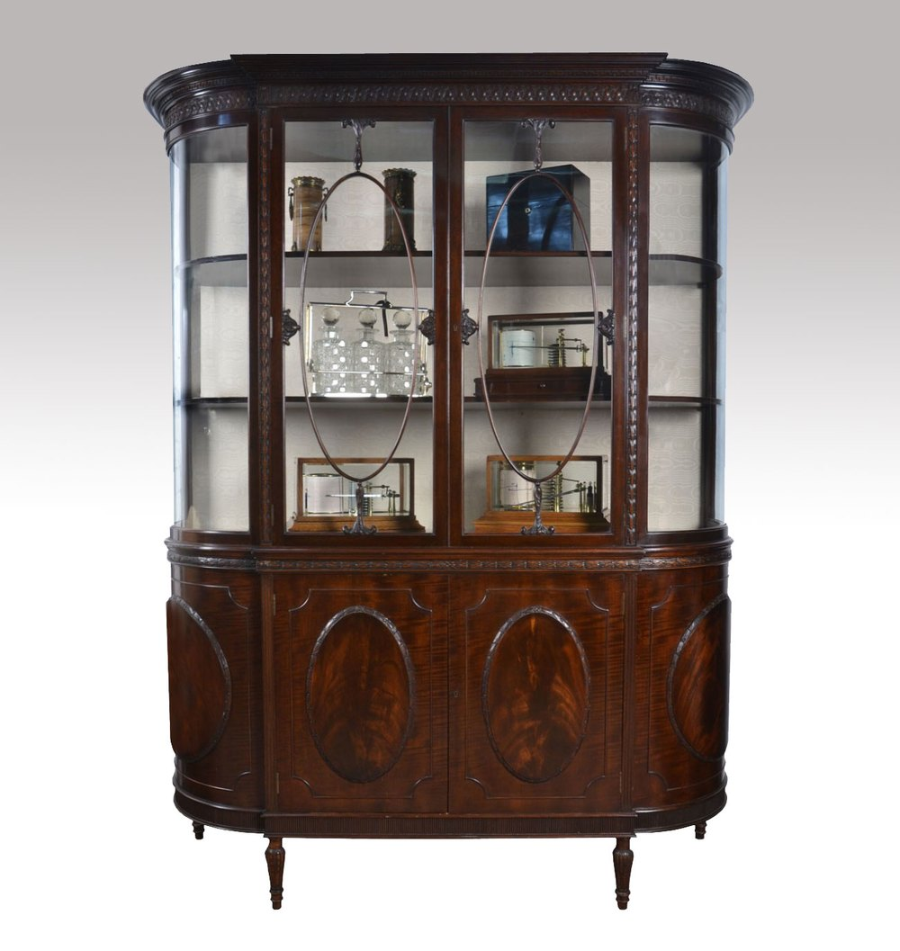 Very large mahogany bow ended display cabinet antiques atlas for Antique display cabinet