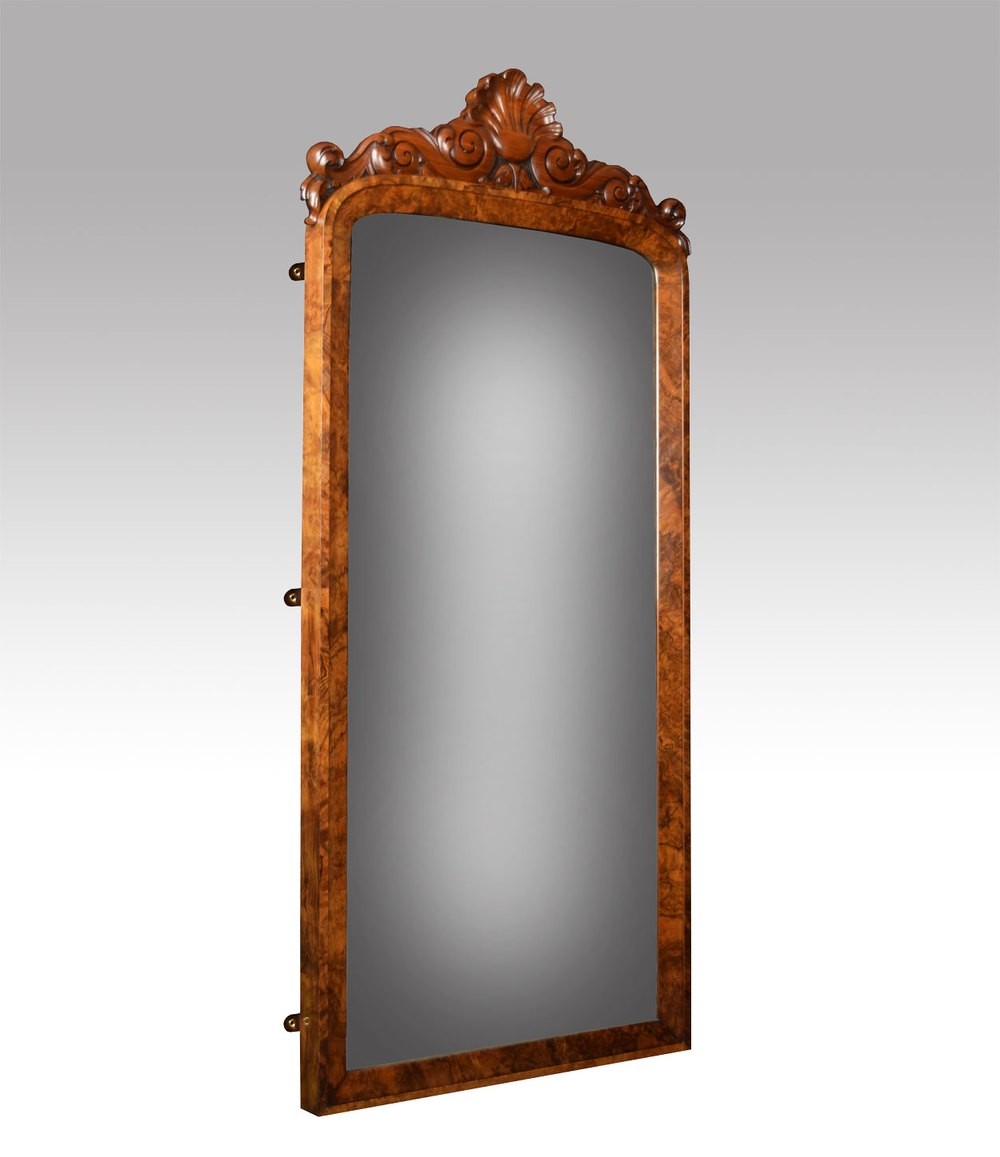 Antiques atlas victorian figured walnut wall mirror for Victorian mirror