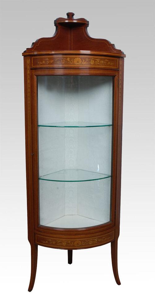Victorian Mahogany Bowed Corner Display Cabinet Antique Corner Cabinets - Victorian Mahogany Bowed Corner Display Cabinet - Antiques Atlas