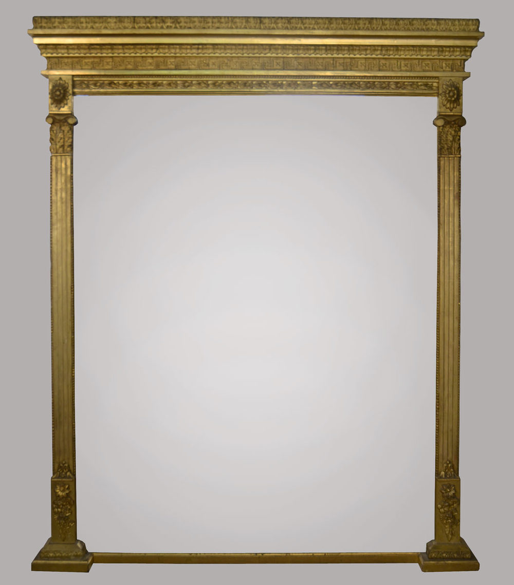 Antiques atlas large gilt wood over mantle mirror for Mantel mirrors