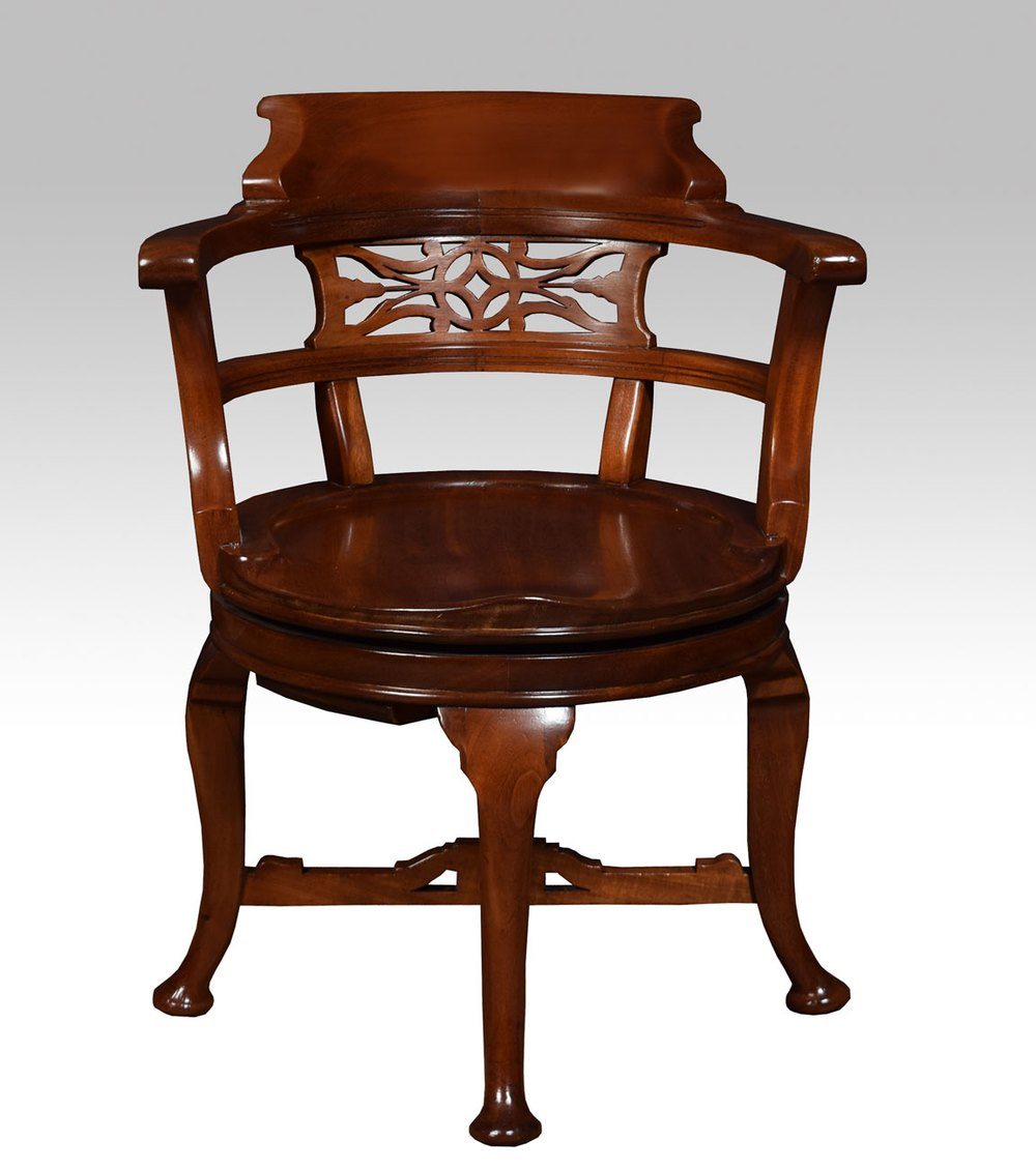 Victorian mahogany swivel desk chair antiques atlas for Chair with swivel desk